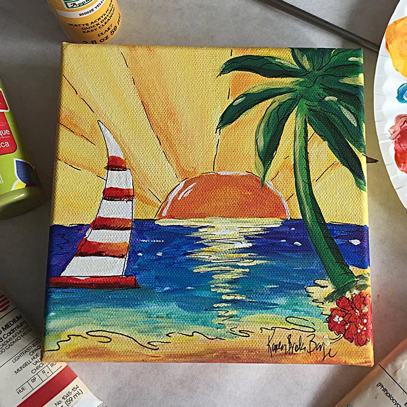 Karen Brake Barge Yellow Sunset Acrylic painting