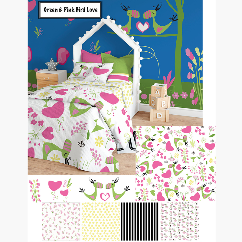 Green and Pink bird pattern