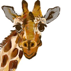 Mr Giraffe Painting created on the iPad in Procreate