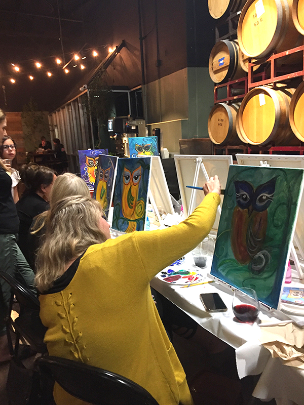 Karen's Paint party painting the owl painting