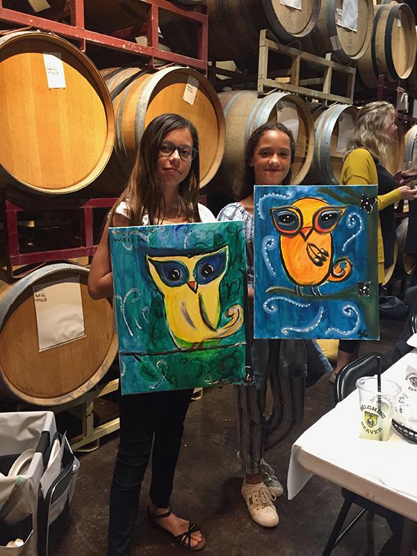 kids painting the owl painting Karen's Paint Parties @ The Pub Belching Beaver Pub980 in Vista, CA
